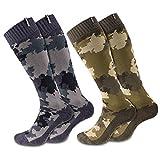 shuibian Herren Skistrümpfe 2 Paar Socken Dicke Skisocken Zwei farben Super elastisch Skifahren Wandern Sport im Freien, Armee Grün/Grau, Einheitsgröße