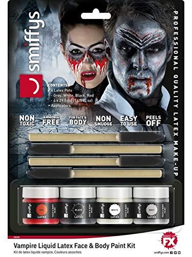 Halloweenia - Damen Herren Vampir Flüssiglatex Set Kit schwarz weiß grau rot ammoniakfrei als Schminke oder Make Up, perfekt für Halloween Karneval und Fasching, Mehrfarbig