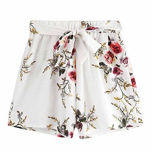 print elastische kurze Sporthosen Strand Shorts Casual Gürtel lose heiße Dame Sommerhose Frauen Regenbogen Hosen (Heiße Leggings Mädchen)