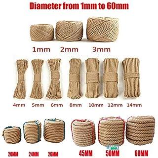 Greenpromise Natural Hessian Jute Twine Hemp Rope Cord Strings For DIY (Diameter from 1MM to 60MM,Length 10Meters) (12MM x10Meters)
