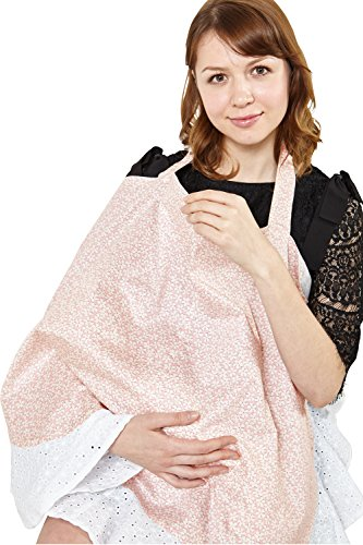 SP5019 Etole pour l'allaitement avec bord en dentelle Pink flowers Taille unique Pink