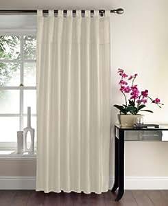 "Faux Silk Tab Top Sequin Panel Curtain, Colour: Cream. Size: 57"" x 90"" (145cm x 228cm)."