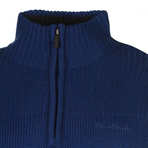 Pierre Cardin Herren 1/4 Zip Strickpullover Langarm Stehkragen Pullover Pulli Cobalt