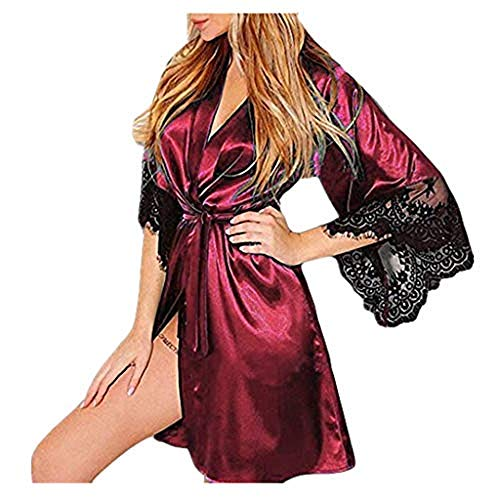 ABsoar Negligees Damen Sexy Dessous Silk Kimono Dressing Babydoll Spitze Dessous Gürtel Bademantel Nachtwäsche Unterwäsche Lace Bodysuit