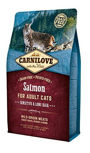 Carnilove Salmon Sensitive & Long Hair Comida Deshidratada para Gato 2 Kg - Paquete de 5 x 400 gr - Total: 2000 gr