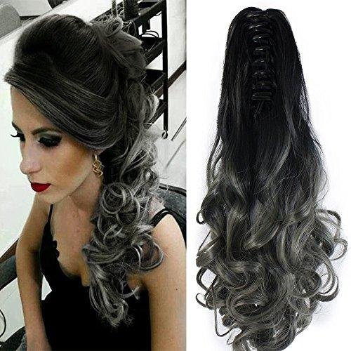 Neverland Beauty – Clip con extensiones de pelo, coleta larga ondulada, color negro natural/gris oscuro