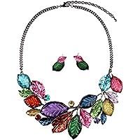 SunIfSnow donna, stile vintage, foglie, modello & 2 collane e orecchini