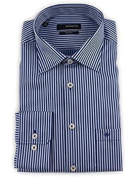 Seidensticker Herren Langarm Hemd Splendesto Regular Fit Modern Kent blau gestreift 185445.16