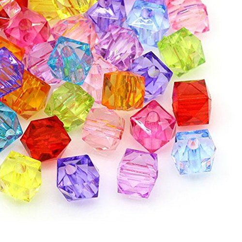 HOUSWEETY 300 Mixte Perles Intercalaires Verre Cristal Carre Acrylique 7x8mm