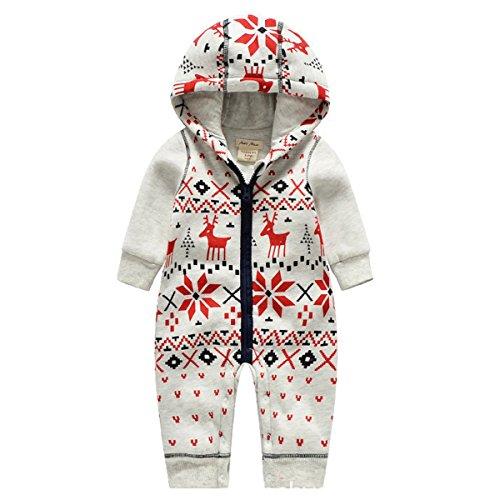 Rentier Kostüm Baby - Bebone Baby Weihnachtspullover Jungen Strampler Mädchen Overall (6-9 Monate/66cm, Rentier)
