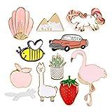 Godagoda 11PCS Broche Pin Femme Fille Animal Plante Mignon Décoration de Vêtement Alliage Multicolore