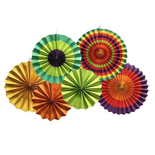 YEENI Fiesta Fans | Fiesta Dekorationen | Mexikanische Hochzeit | Hochzeitsfest | Mexikanische Papierfans | Papierfächer | Fiesta Party | Fiesta Regenbogen Banner | Fans (Mexikanische Dekorationen)