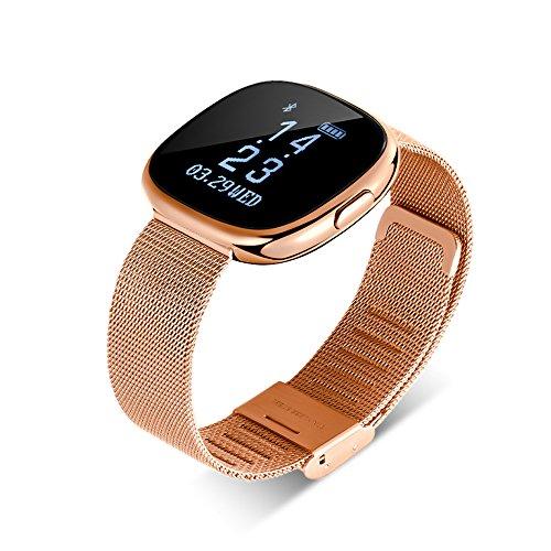 GWJ Fitness Tracker, Bluetooth Uhr Herzfrequenz Blutdruck Übung Schritt Zähler Wasserdicht Outdoor Sports Smart Armband