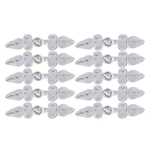 perfk 10 Paare Traditionelle Herz Chinesische Knoten Frosch Verschluss Nähen Stricken Klein Knöpfe Set - Silber, 79 x 22 x 8 ()