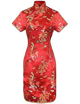 1ede6de5e332 Vestito cinese corte Qipao a maniche corte Abito Donna modello drago taglia  38 al 48
