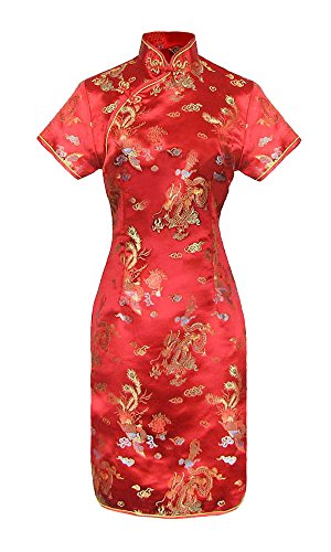 Robe chinoise Qipao rouge motif dragon à manches courtes - 38