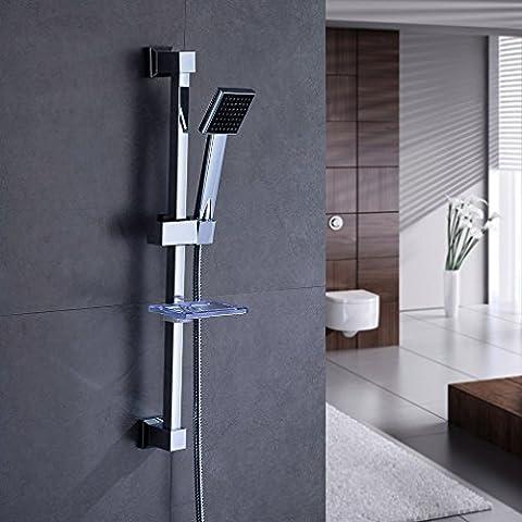 KINNLO Haus Doccia con portasapone in ottone di alta qualità in argento placcato per male - Pannello Guarnire