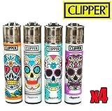 Clipper - Lote de 4 mecheros, diseño de calaveras mexicanas, tamaño grande