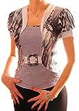 PoshTops Damen Bluse 2 in 1 Optik Dehnbares Strukturiertem Material Damenshirt Puffte Kurze Ärmel Größen S – XXXL Abendkleidung Freizeitkleidung Plus Size Kleidung (Grau, XXL/46)