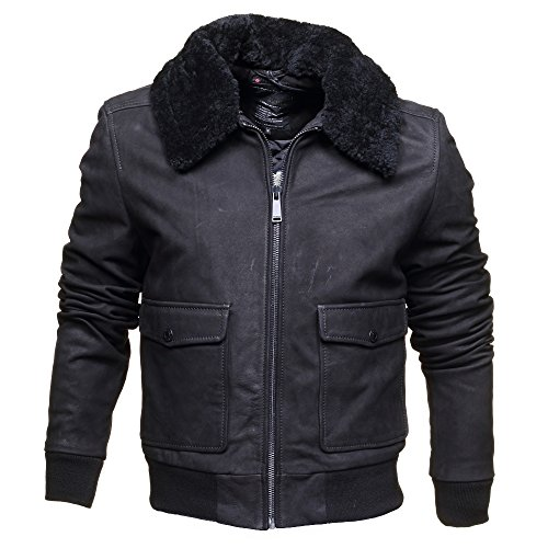 Blouson en Cuir Homme Redskins Interpol Punch Black Noir