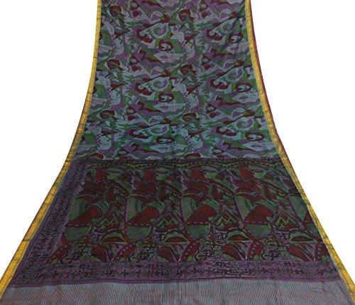 Vintage mehrfarbig bedruckt Art Silk Saree Gebrauchte Kleid machen Sari Craft Fabric Art Silk Sari Saree