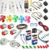 #3: 200 Items In 1 Kit/2 4000rpm motor/2 high speed dc motor with jumber wire/150 pcs resistors (30 types resistors 5 pcs each)/4 dc motor/2 Battery(9Volt) With Snap(Connector) /2 battery with battery holder /5 fan/buzzer/3 meter wire/15 pcs led(red/green/yellow) /10 jumper wire/led sripe light/1 meter ribbon wire /3 mini rockerswitch/2 battery clip