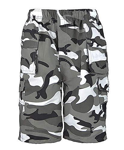 RageIT Lotmart Jungen Shorts Einfach Tarnfarbe Multi-Taschen Armee Druck Cargo Combat - Tarnung Grau, 3-4 Years - Multi Arm