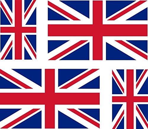 4 Adesivi per Auto, Moto, Valigia, pc Portatile, Motivo: Bandiera Regno Unito