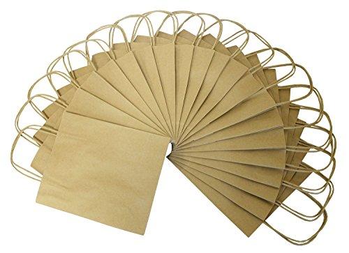 folia 21810 - Papiertüten aus Kraftpapier, Geschenktüten, 20 Stück, 18 x 8 x 21 cm, natur - zum Basteln, Verzieren und Verschenken