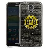 Samsung Galaxy S5 Slim Case transparent anthrazit Silikon Hülle Schutzhülle Borussia Dortmund BVB Holzoptik