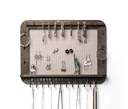 JackCubeDesign an der Wand befestigte hölzerne Schmuck-Organisator-Designer machte Kosmetik-Speicher-Regal w / Halskette Regal-Ohrringe Halter-Behälter mit 23 Haken für Halsketten-Armband -: MK399A -