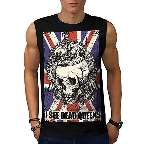 Schädel Tot Königin Metall Vereinigtes Königreich Skelett Vereinigtes Königreich Herren M Ärmellos T-shirt | Wellcoda