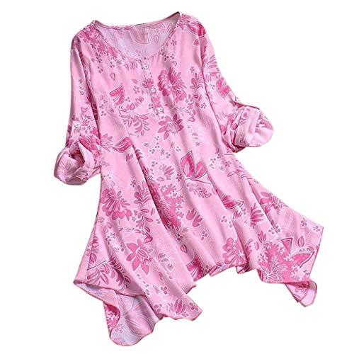 Zegeey Damen T-Shirt GroßE GrößEn Blumenfarbe Kurzarm Rundhals Shirts Bluse Top Oberteil Baumwoll Leinen Tunika Schicker Elegant LäSsige Lose(X6-Rosa,EU-44/CN-2XL) - Sheer Ruffle Shirt