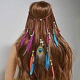 Simsly - Copricapo indiano con piume, in stile bohémien anni '20, Accessorio per capelli, per donne e ragazze