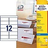 AVERY Zweckform J8177-25 Adress-Etiketten (A4, Papier matt, 300 Stück, 99,1 x 42,3 mm, 25 Blatt) weiß