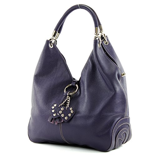modamoda de - shopper sac à main en cuir italien sac à bandoulière 330, Couleur:Violet foncé