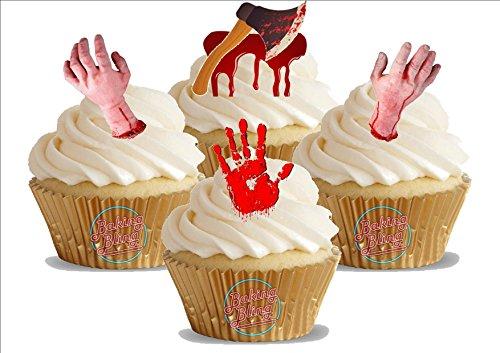 HALLOWEEN Blut Gerinnt Hand Mix 12 essbare Standup Kuchen-Deko, Kuchendekorationen, essbar, Premium, 2 x A5, für 12 Bilder
