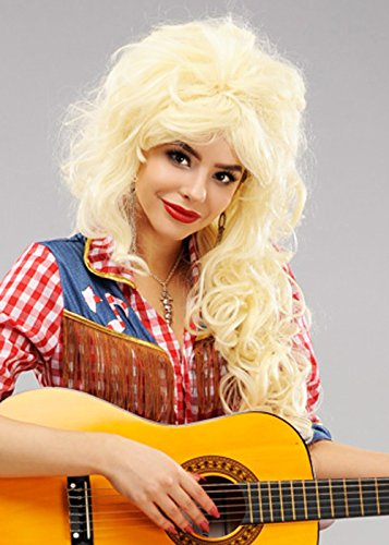 Womens Long Blonde Dolly Parton Style Perücke