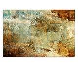 Paul Sinus Art 120x80cm Leinwandbild auf Keilrahmen Acryl Malerei Abstrakt Blau Braun Rot Beige Wandbild auf Leinwand als Panorama