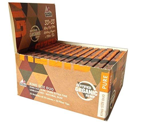 Gizeh Combi Pack Organic Hemp King Size Duo Pure 33 Cartine + 33 Filtri 1 Box