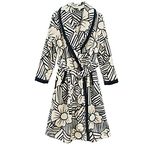 Muster Flanell-pyjama (HXQ Morgenmantel Winter Männer und Frauen Flanell Bademäntel Verdickung Pyjamas Plum Blossom Muster , Ms , 2xl)