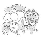 mikolot Sommer Strand Krabbe Fisch Metall Formen Embossing Schablone Vorlage für DIY Scrapbooking Album Papier Card Craft