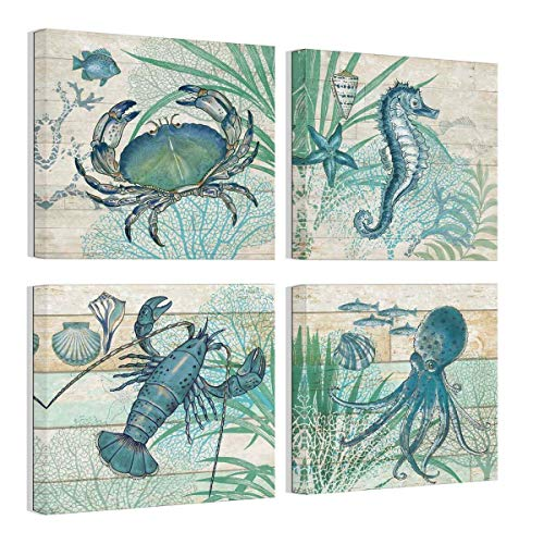 Leinwandbild, Motiv: Octopus Seepferdchen, Aquarell, Holzbilder, rustikales Strandmotiv, Wanddekoration, 4-teilig, gerahmt, für Schlafzimmer, fertig zum Aufhängen, 14 x 14 cm