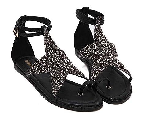 Pompe Clip Toe Sequins Pierres de Strass Étoile Sandales plates Chaussures décontractées Chaussures romaines Femmes Mode Open Toe Etoile à cinq pointes diamant Sangle de cheville Boucle de ceinture Fo , black , 37