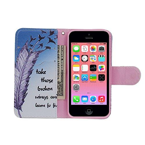 xhorizon FX Einfach Blumen Bunte Blumen-Ölgemälde Magnetisch Ledertasche Standfunktion Book Stil Flip Case Cover Hülle für iPhone 5C(Berühren Sie nicht mein Phone) 17# Feder