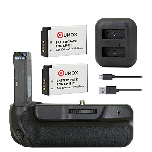 2X QUMOX LP-E17 + support de poignée de batterie pour Canon EOS 800D 77D Rebel T7i Kiss X9i appareil photo reflex numérique