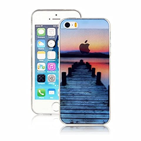 MUTOUREN iPhone SE/5/5S case cover Transparent TPU Silicone Protector Protective Clear Case Cover TPU Bumper shock resistant