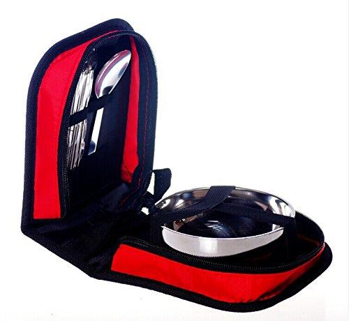 Live étages Unique Table extérieur Vaisselle Portable Camping Sac de pique-nique de voyage Ensemble de couverts en acier inoxydable de couverts Camping Baguettes, cuillère et bol avec sac de transport., red