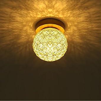 Pastorale Ball Rattan LED Gang Beleuchtung Veranda Lichter Flur Treppen  Deckenleuchten Balkon Leuchten Weiße Modelle [mit 3 Watt LED Lampe]:  Amazon.de: ...