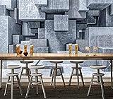 Qqasd 3D Stereo Brick Stone Wallpaper Mural de pared 3D para paredes Sala de estar Pintura de pared Acuarela Gris Geométrico Papel de pared de piedra-350X256CM